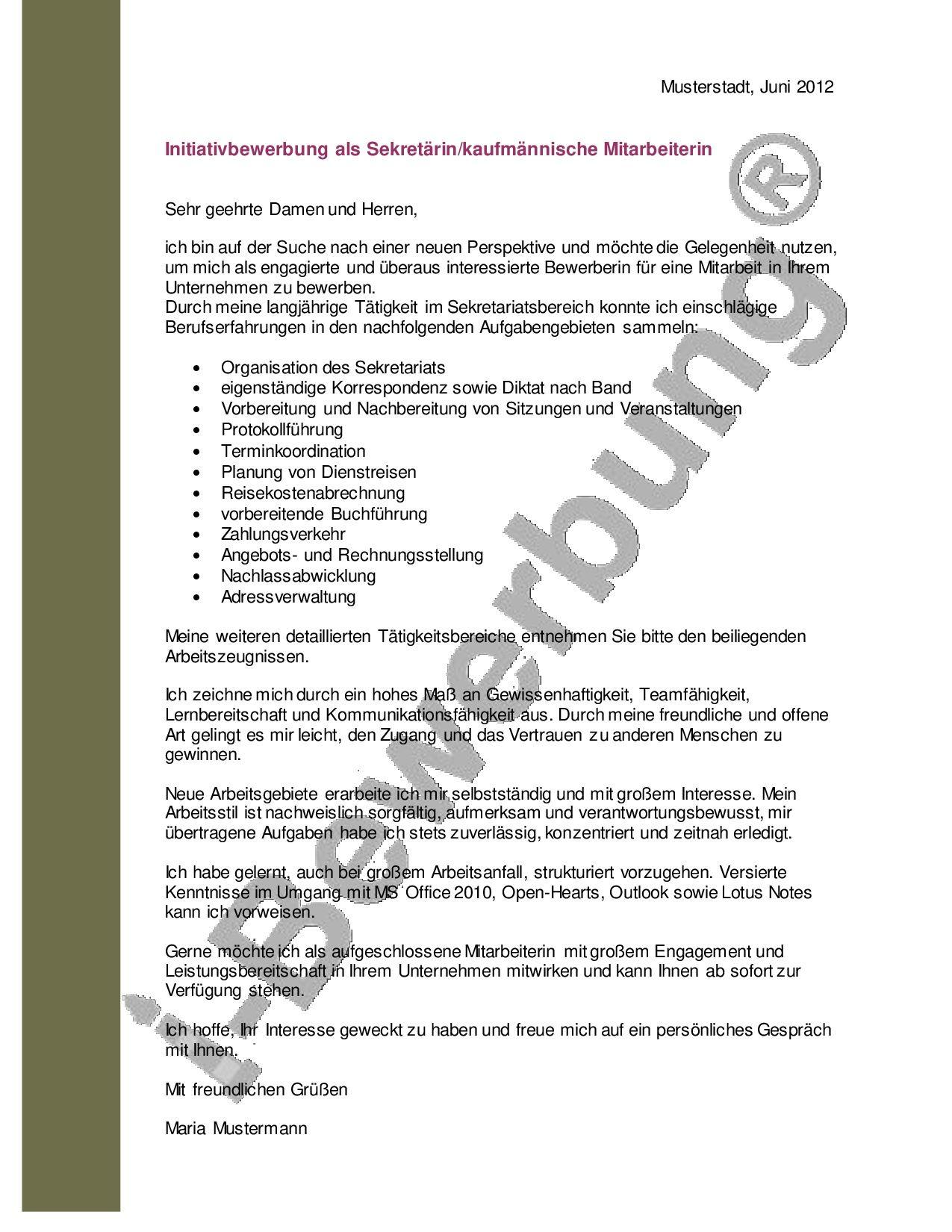 Muster Anschreiben zur Initiativbewerbung als Sekretärin | Pinterest ...