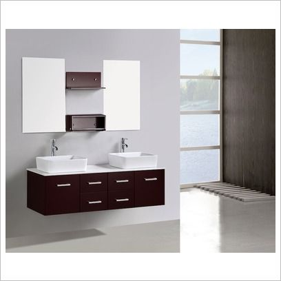 modern wall hang vanity with double bathroom cabinet in