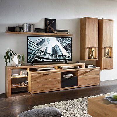 Wohnwand Anbauwand Wildeiche Teilmassiv Graphit Wohnzimmermobel Bianco 2 Mit Led Wohnen Wohnzimmerschranke Wohnwand