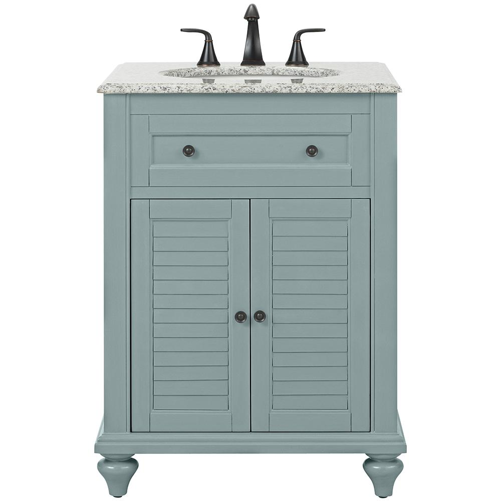 Home Decorators Collection Hamilton Shutter 25 In W X 22 In D Bath Vanity In Sea Glass With Granite Vanity Top In Grey 10806 Vs25h Sg In 2020 Granite Vanity Tops Bath Vanities White Sink 25 inch vanity top