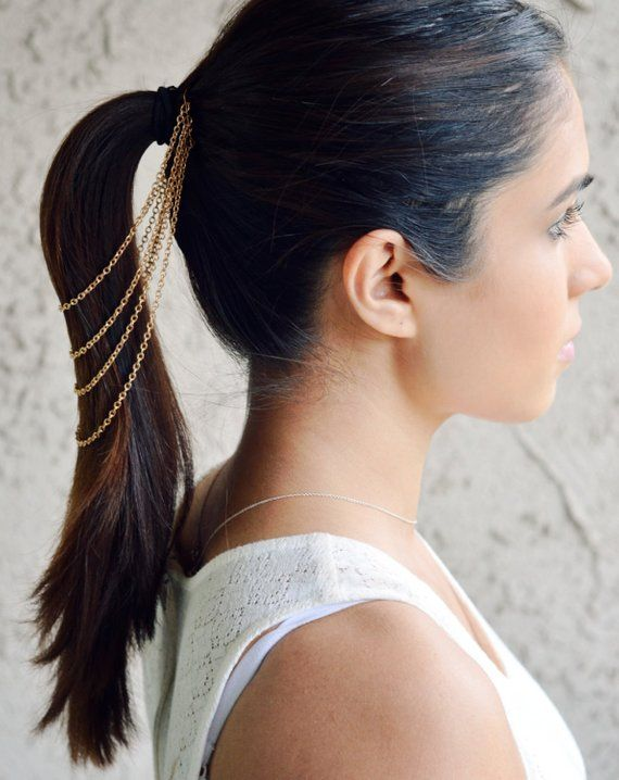 Hair Chain Jewelry Barrette Head Accessory Gold Boho Festival Hippie Vintage Authentic Hair Jewelry Spring Summer Prom #hairchains