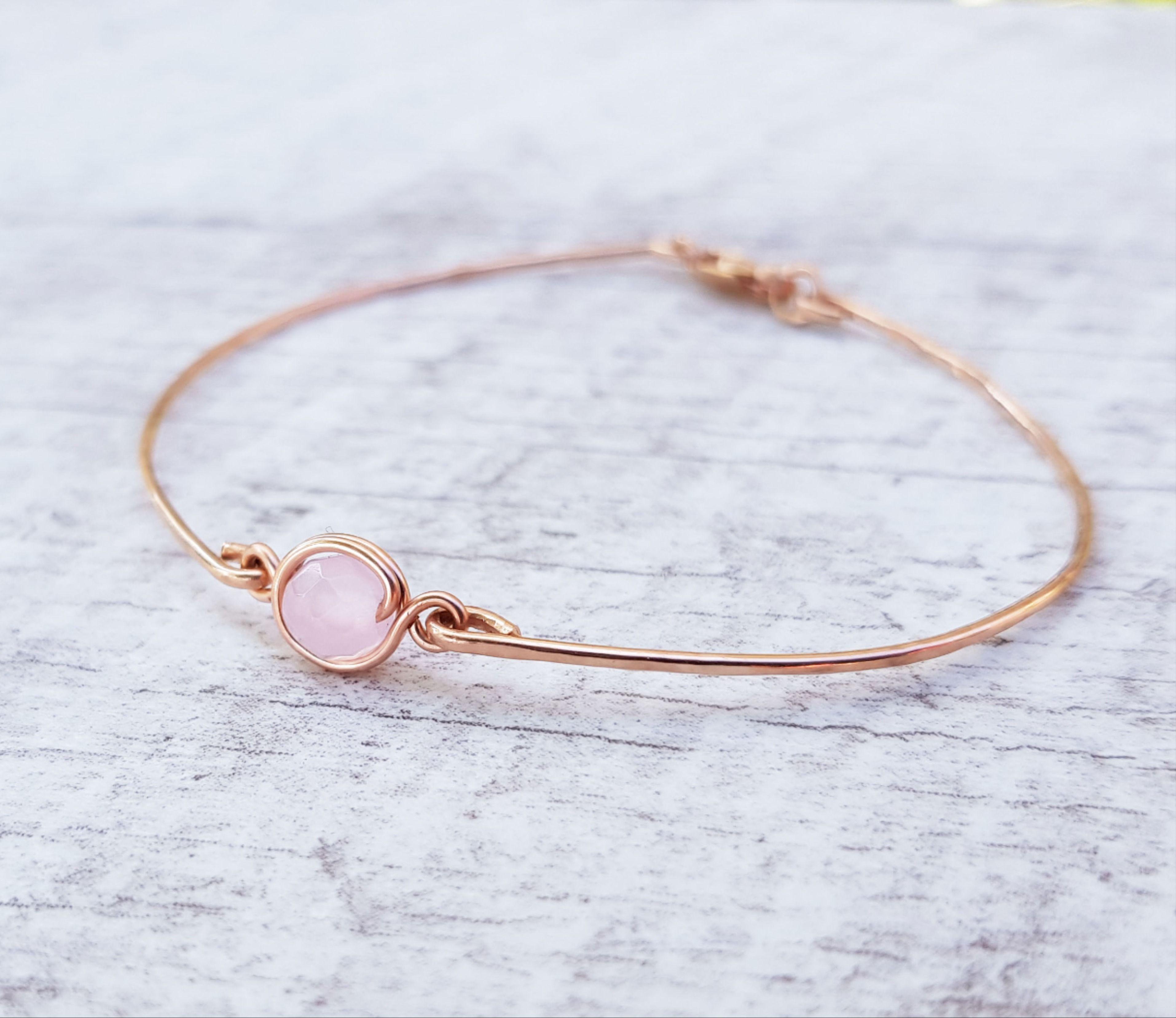 14k gold filled bracelet with bright pink rose quartz charm oval TENDER TOUCH