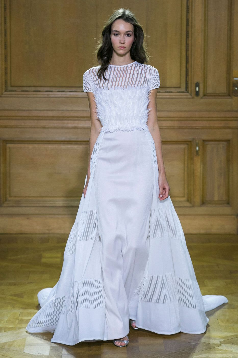 Georges Chakra | Spring 2016 Couture | 40 White short sleeve maxi dress with feathered panel