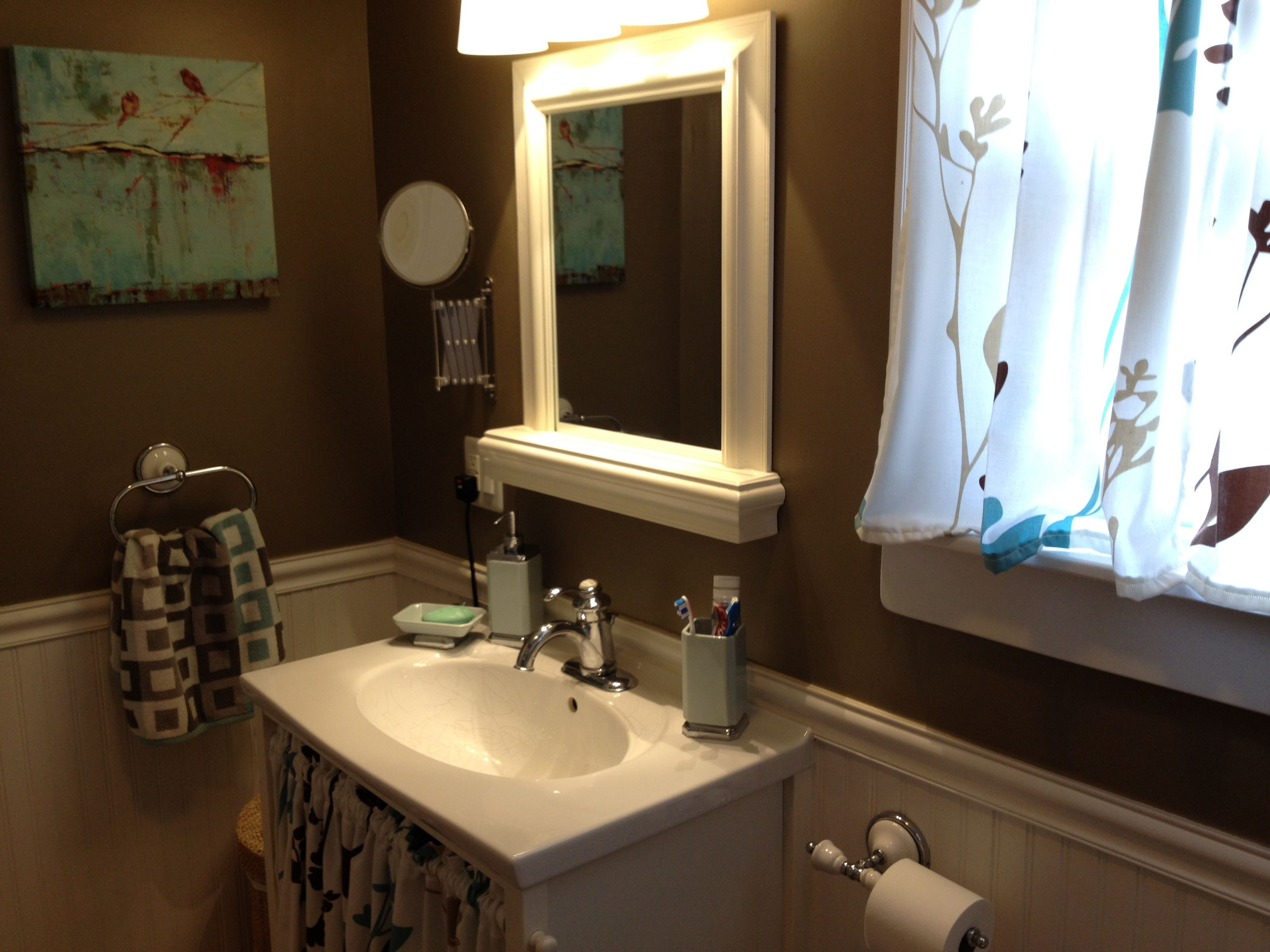 Chocolate Brown Bathroom Re Done Using Teal Accents Brown Bathroom Brown Bathroom Decor Teal Bathroom