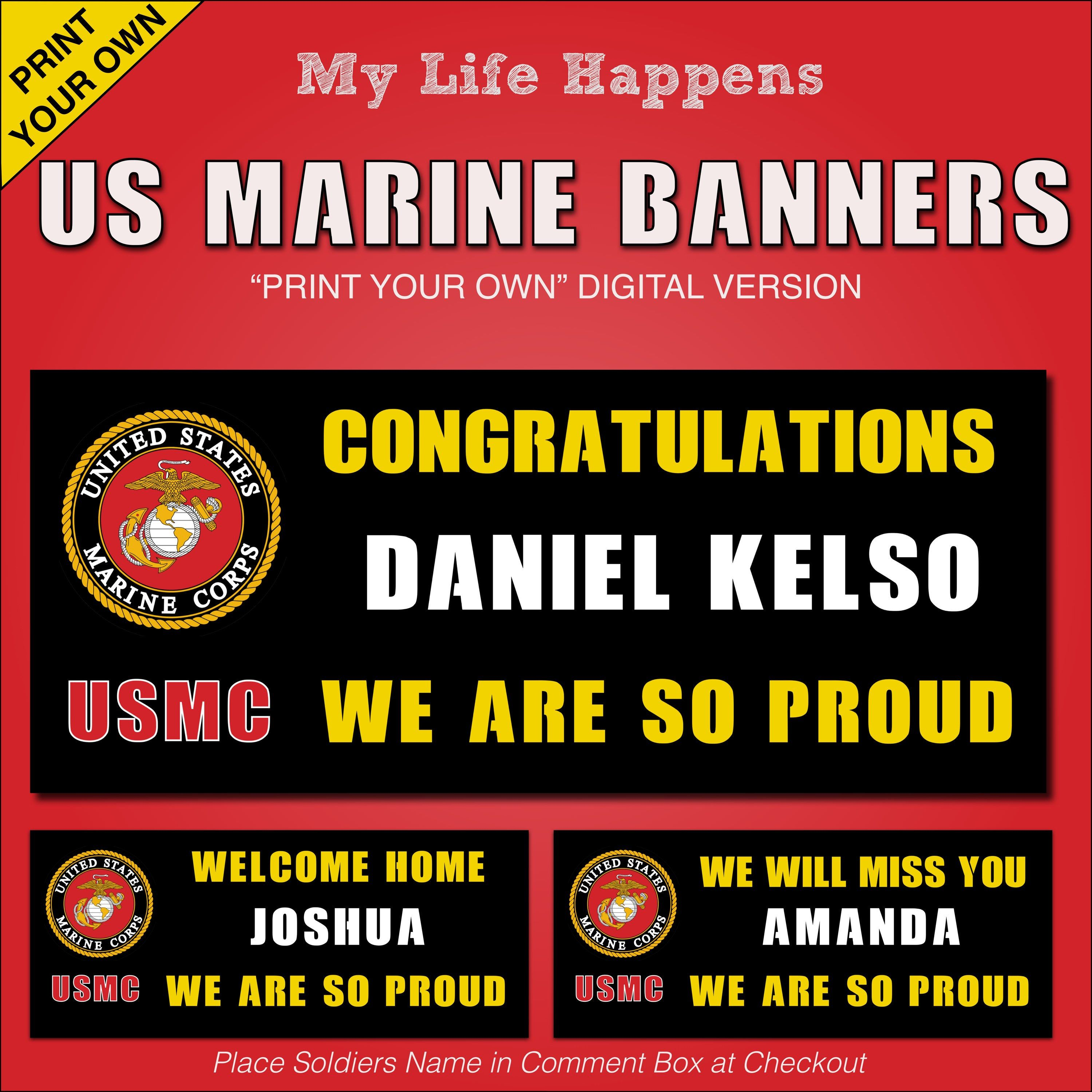 Marine Corps Banner Graduation Welcome Home We Will Miss You Print Your Own Banner Marine Welcome Home Banners Marine Corps