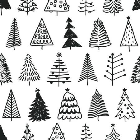 Seamless Pattern With Hand Drawn Christmas Tree Abstract Doodle Christmas Tree Drawing Christmas Doodles Tree Doodle