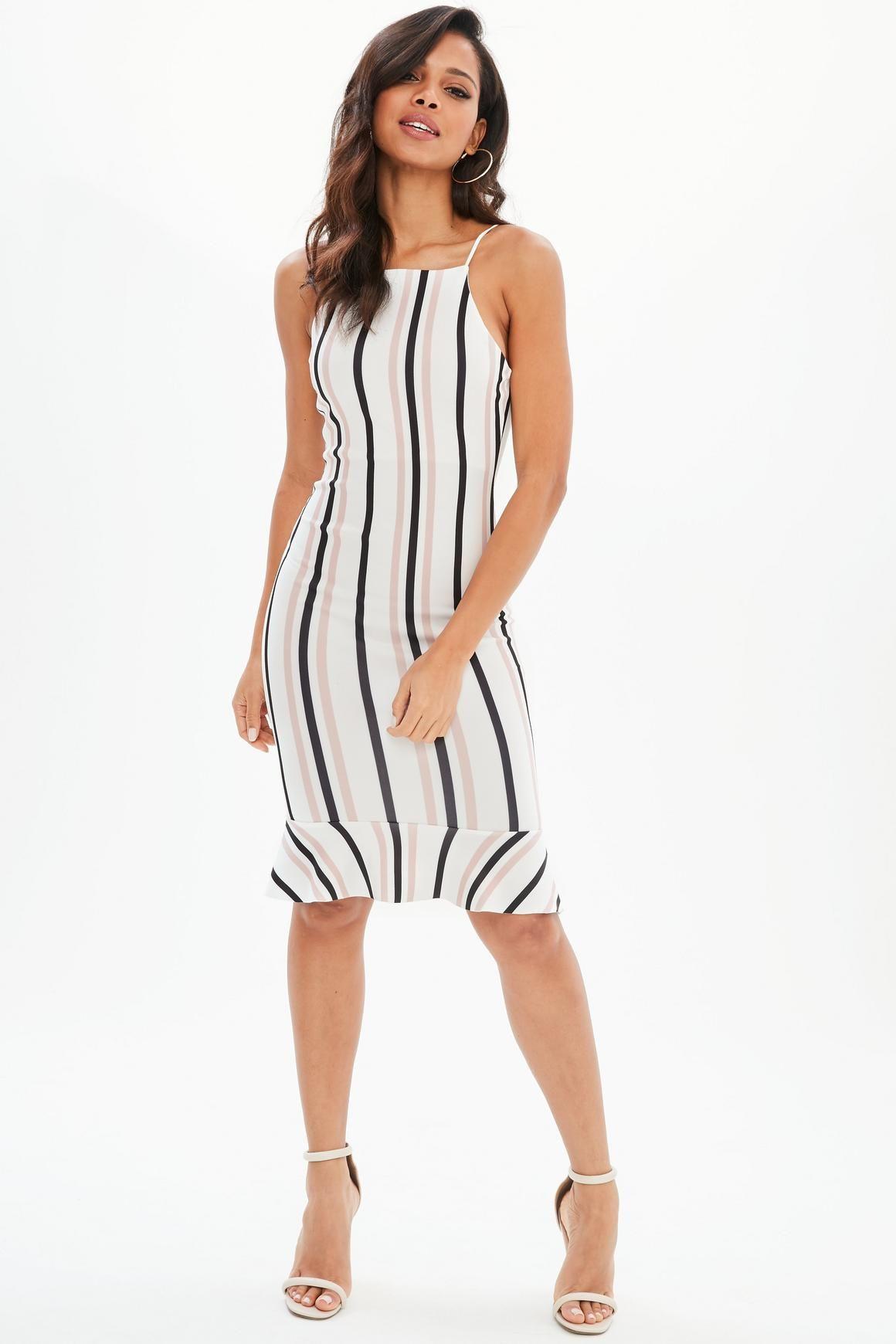 26e46a39e7cab Missguided - White Stripe Scuba Frill Hem Midi Dress