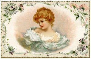 free printable digital image design resource ~ vintage pretty Victorian lady card