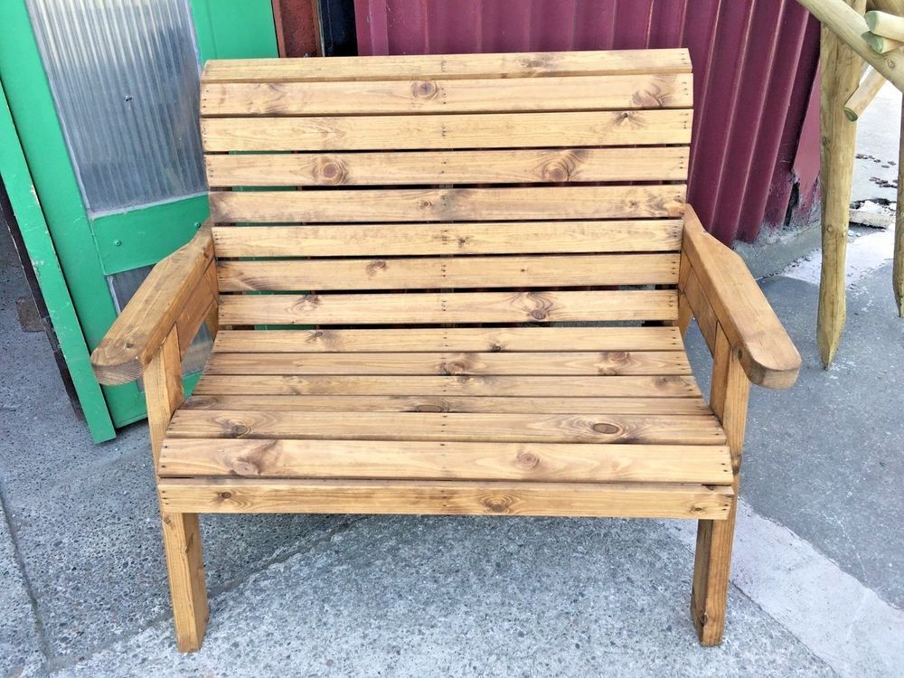 Groovy Wooden Outdoor Bench 2 Seater Solid Wood Slat Arms Creativecarmelina Interior Chair Design Creativecarmelinacom