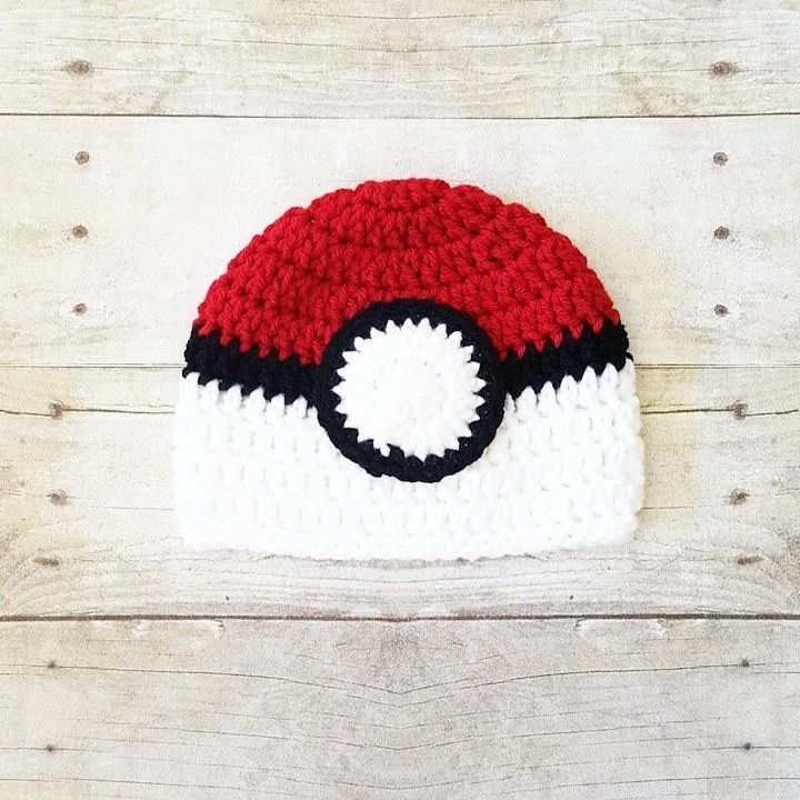 58afc4dffd062 Crochet Pokemon Poke Ball Hat Beanie Newborn Infant Baby Toddler Child  Adult Photography Photo Prop Handmade Baby Shower Gift