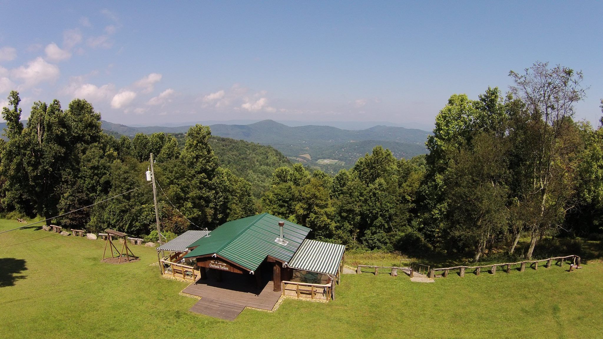 Aerial Drone view of the Overlook Pavilion. A Wedding ...