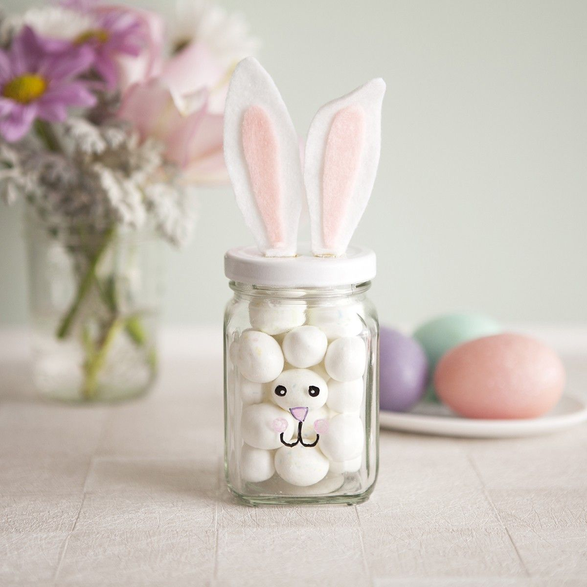 Beauteous diy easter bunny mason jar idea in pastel with long ears beauteous diy easter bunny mason jar idea in pastel with long ears and doodled face and white eggs inside for easter gift negle Images