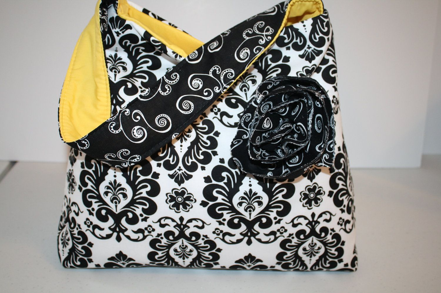 Digital Slr CAMERA Bag Dslr  Camera bag Purse  case Womens  Hobo Market Bag Black Damask Yellow  Messenger strap XcessRize Designs. $80.01, via Etsy.