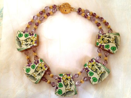 Reversible Necklace with Antique Papers by Karen Dickey Designs