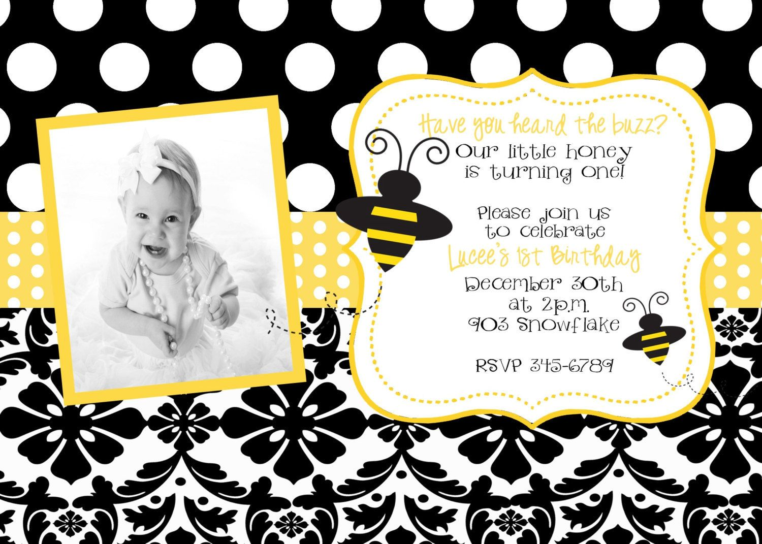 Bumble Bee Birthday Party or baby shower Invitation Digital or ...
