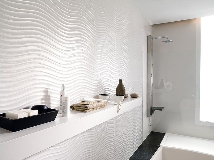 White Wave Tile A Sculptural Look To Use Somewhere In The Reception Area Modern White Bathroom White Bathroom Tiles Modern Bathroom Tile
