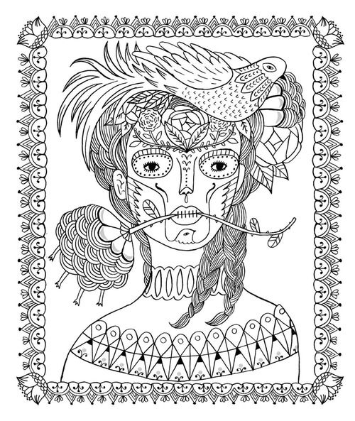Day Of The Dead Sarah Walsh Coloring Book Adult Art Illustration