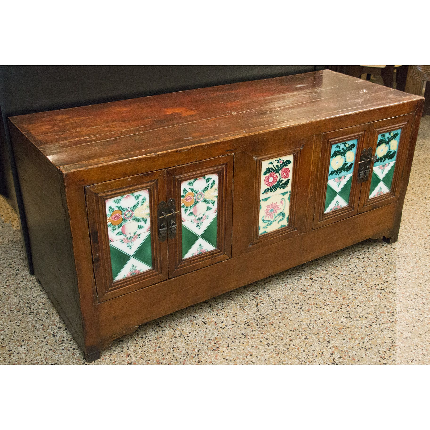 Low Profile Wood Trunk with Hand Painted Tile Inserts