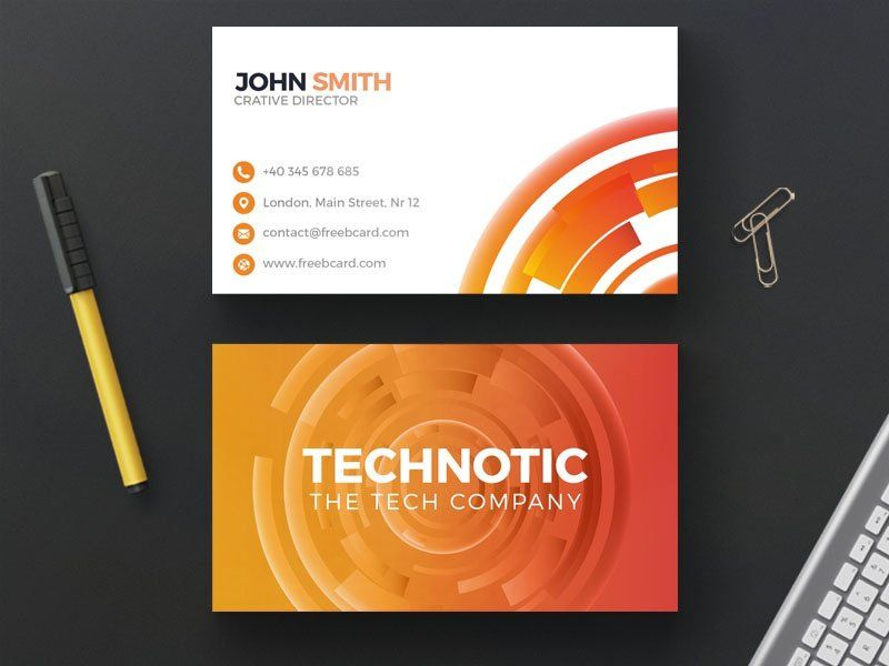 Abstract orange technology business card psd rcz mihlyn abstract orange technology business card psd flashek Images