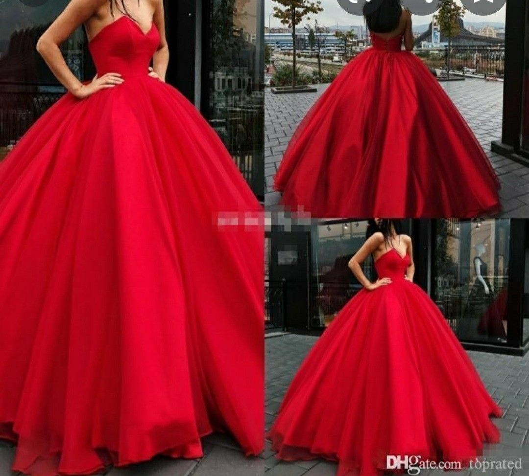 A Big Fluffy Dress Elegant Ball Gowns Sheer Wedding Dress Red Wedding Dresses [ 973 x 1080 Pixel ]