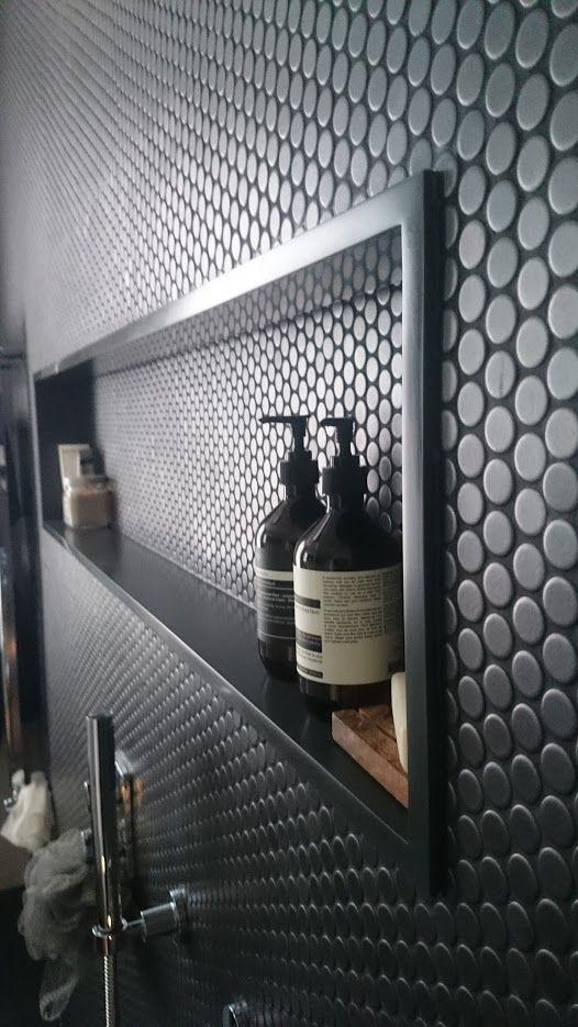 Decor Noir Corian bathroom shelves, custom made Corian basins