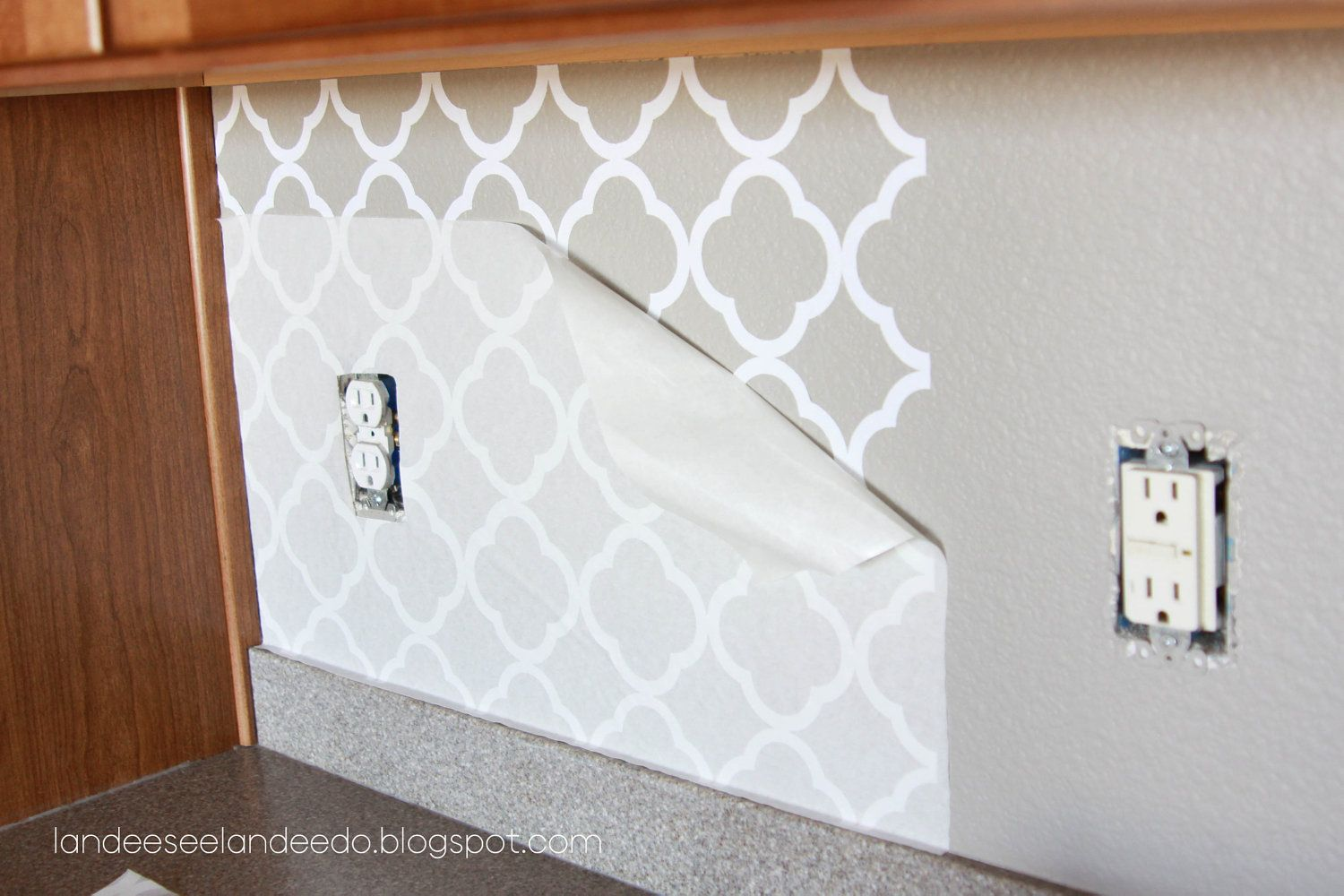 Kitchen backsplash, pantry or bathroom upgrade - vinyl quatrefoil design -. $5.50, via Etsy. Genius idea!