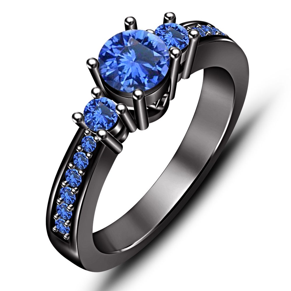 Sterling Silver Black Rhodium Plated Blue Sapphire Solitaire With Accents Ring Silver Engagement Rings Black Wedding Rings Blue Sapphire Rings