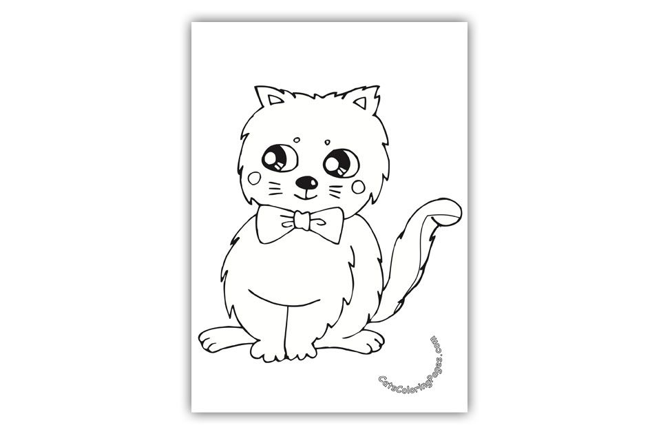 Cat with Bow Tie Coloring Page | Cat coloring page ...