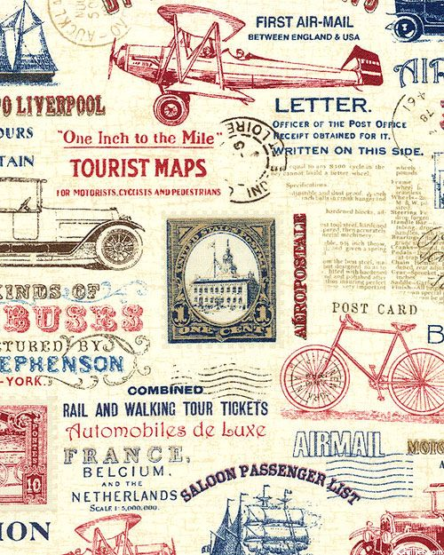 Vintage Travel Transportation Ads Quilt Fabrics From