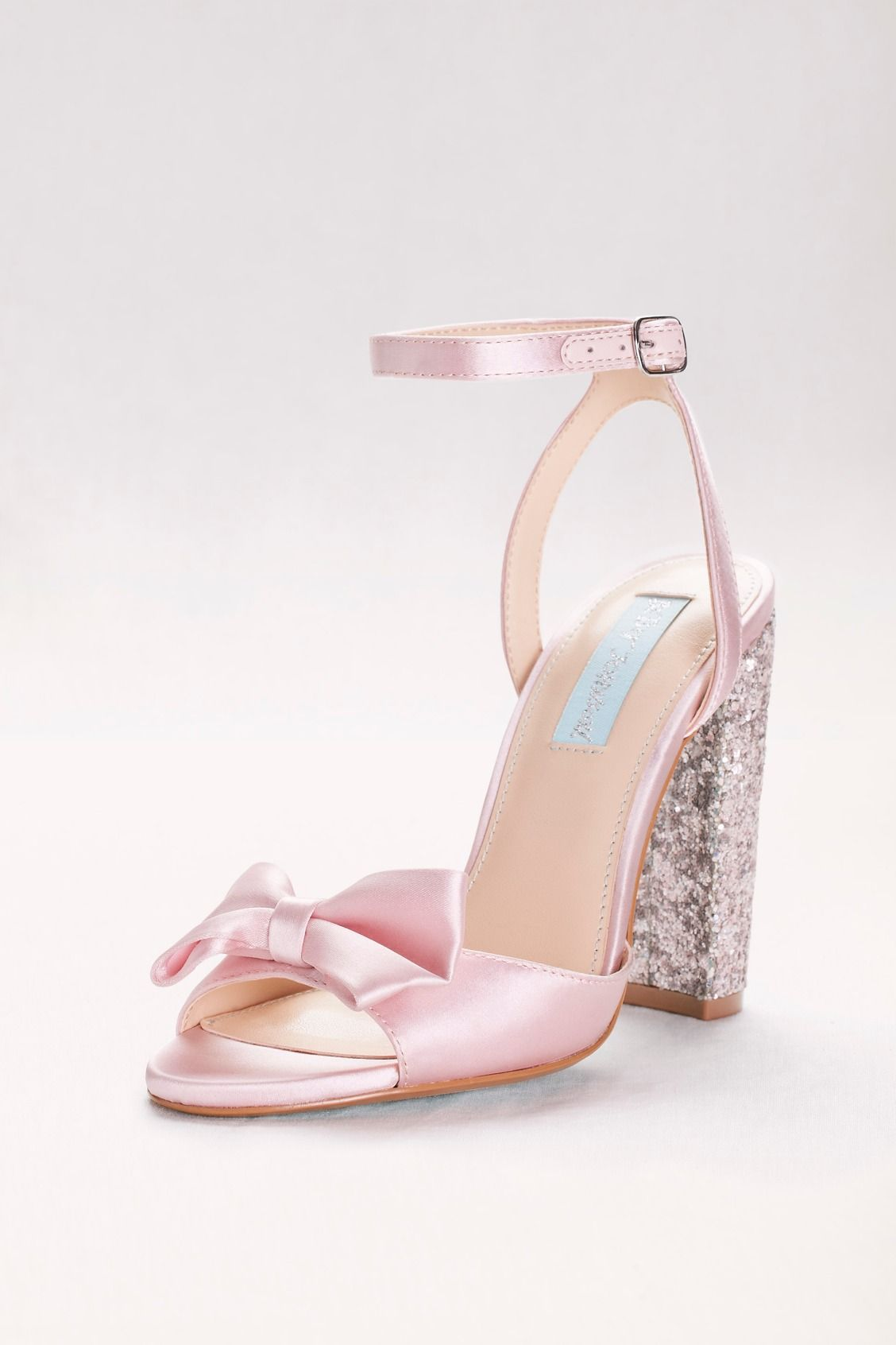 Bow Front Satin Pumps With Glitter Block Heel Prom Heels Block