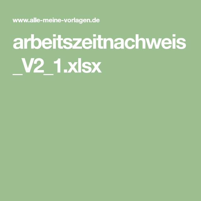 Arbeitszeitnachweis V2 1 Xlsx Vorlagen Arbeit