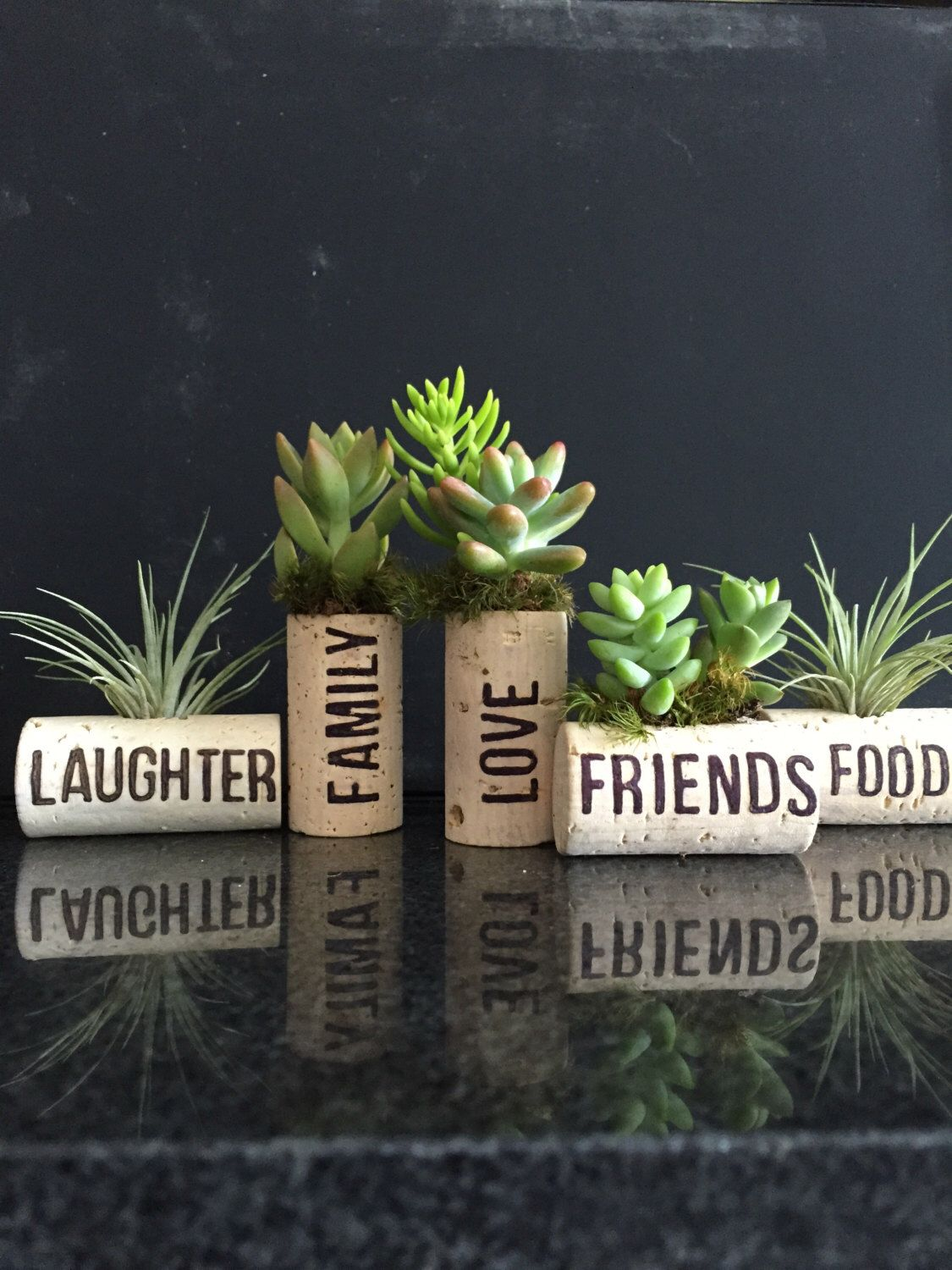 5 personalized air plant wine cork burning