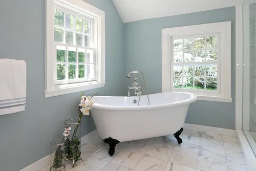 Remodelaholic Tips And Tricks For Choosing Bathroom Paint Colors In 2020 Small Bathroom Colors Blue Bathroom Paint Blue Bathroom Walls