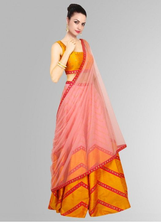004fd86407 Latest Lehariya Style Yellow Navratri Special Lehenga Choli ...