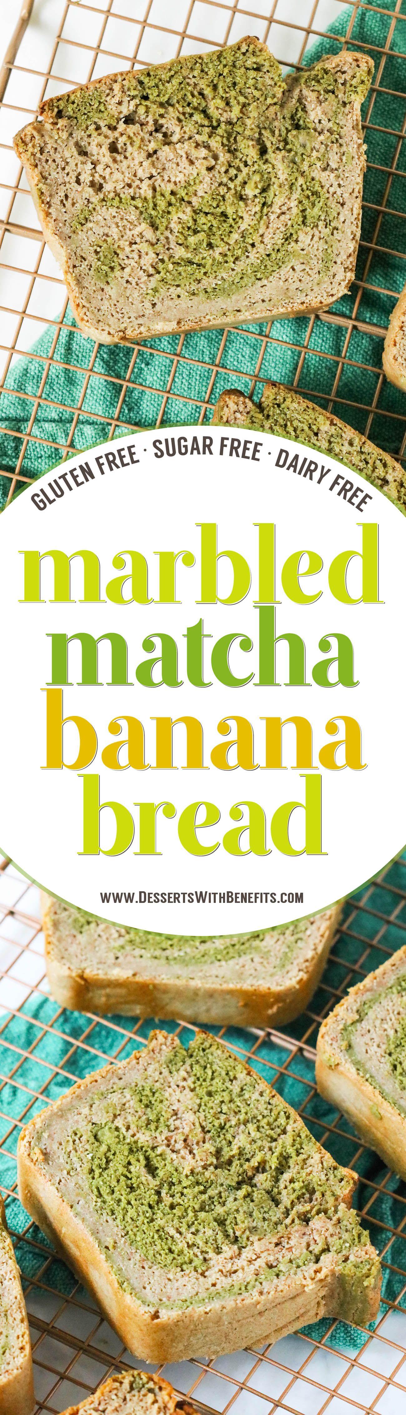 Healthy Marbled Matcha Green Tea Banana Bread gluten
