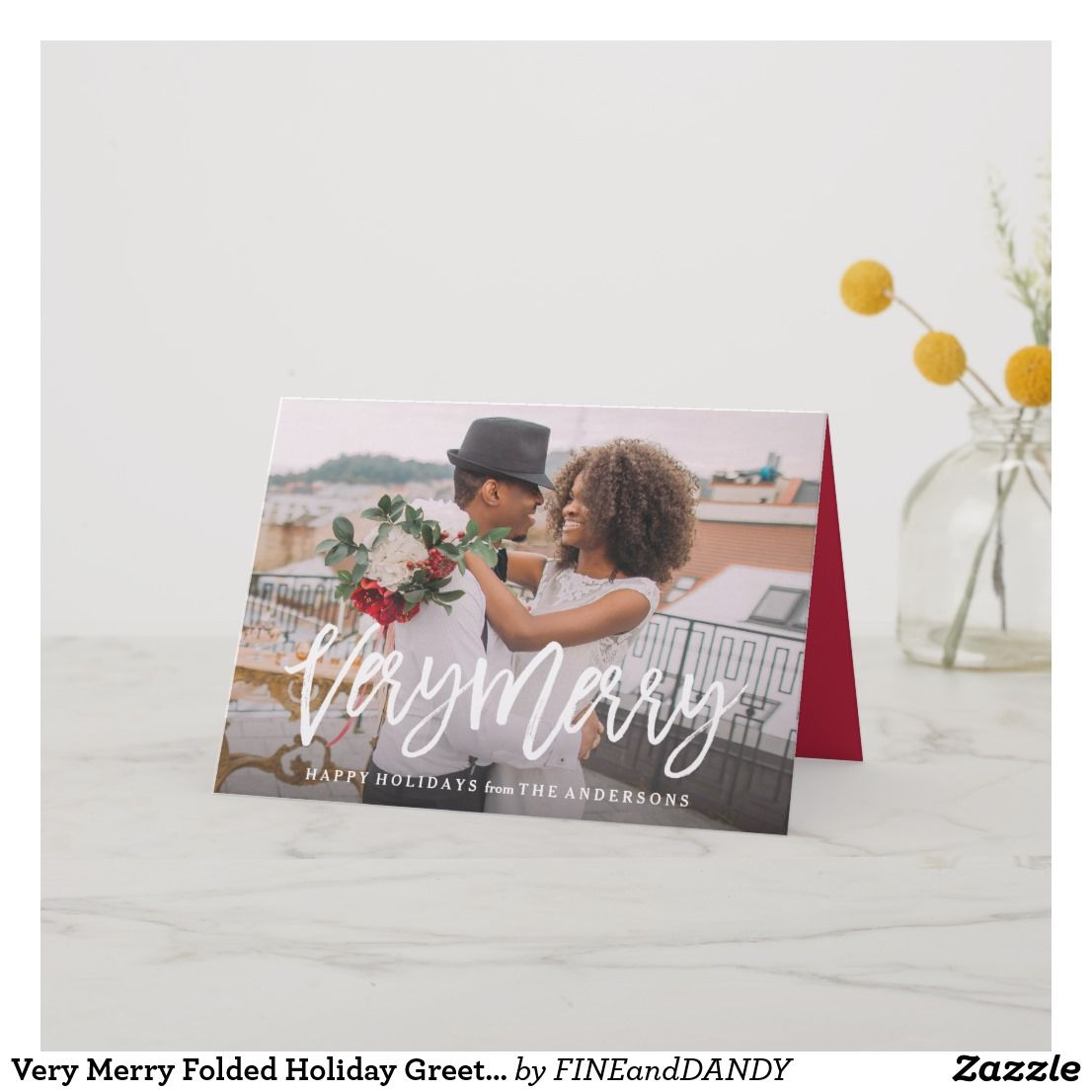Very Merry Folded Holiday Greeting Card Happy Holidays