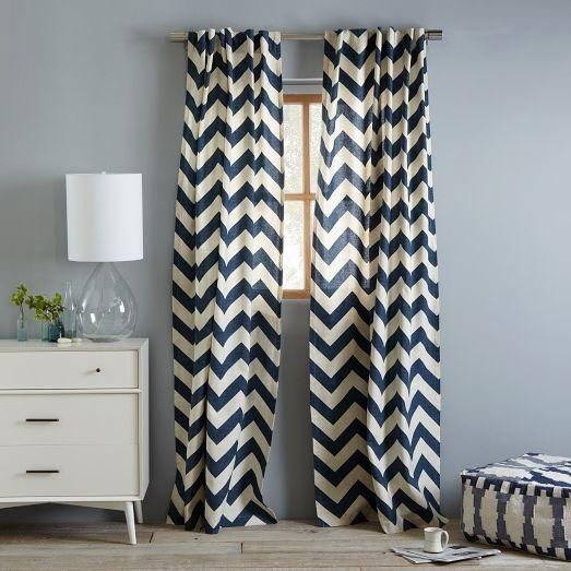 Navy Blue And White Chevron Curtains | Window Treatments   Cotton Canvas  Zigzag Curtain Blue Lagoon