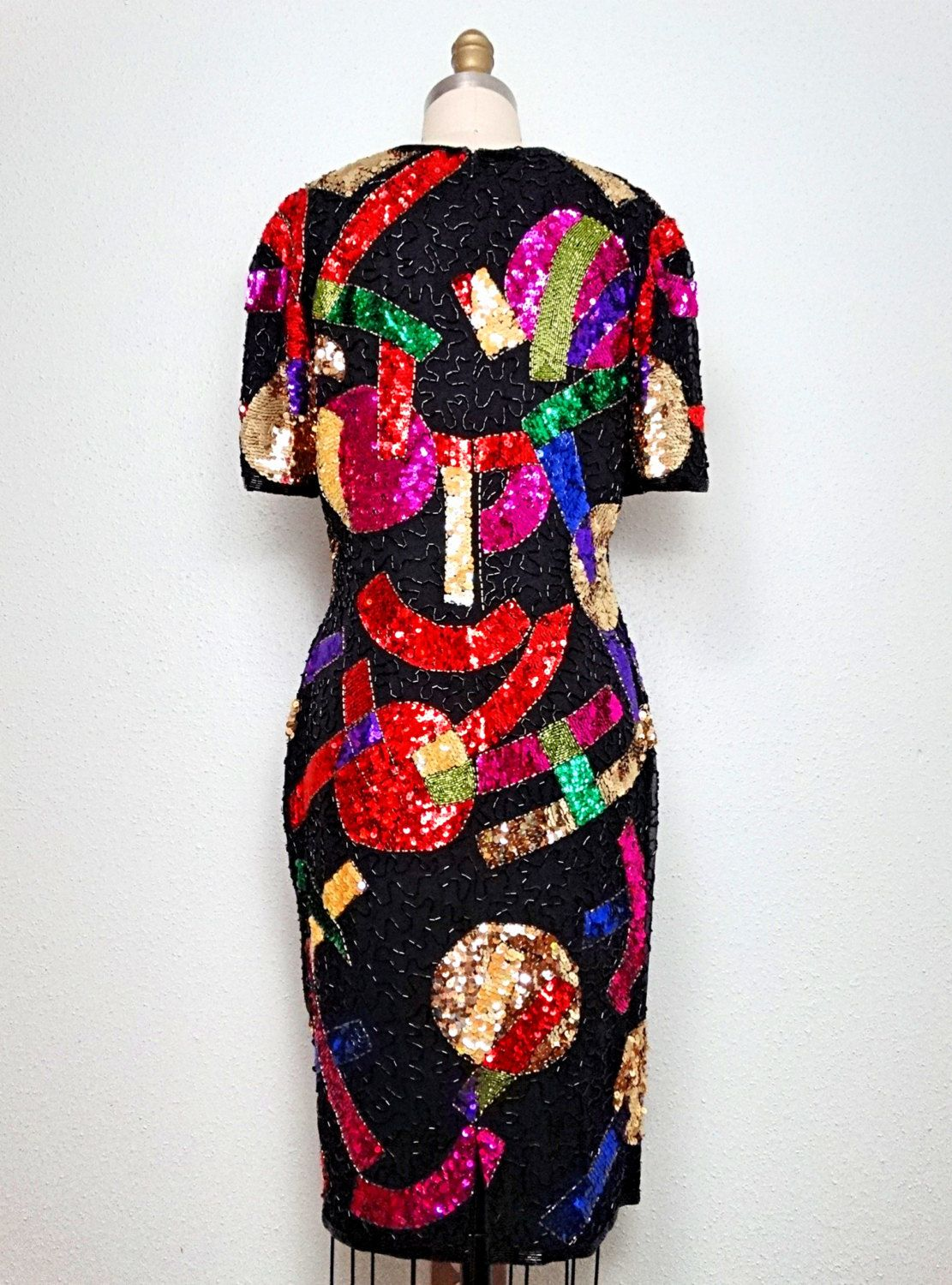 MULTICOLOR Abstract Sequin Dress // Color Pop Beaded by braxae