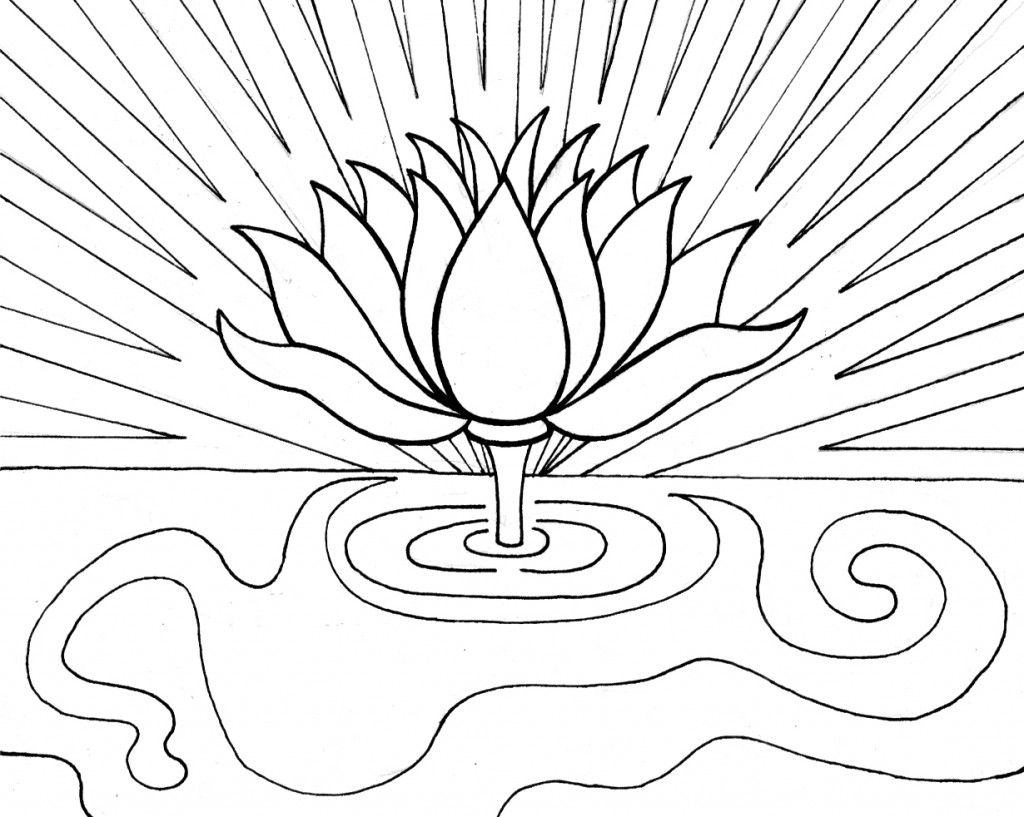Coloring pages for relaxation - Lotus Coloring Page