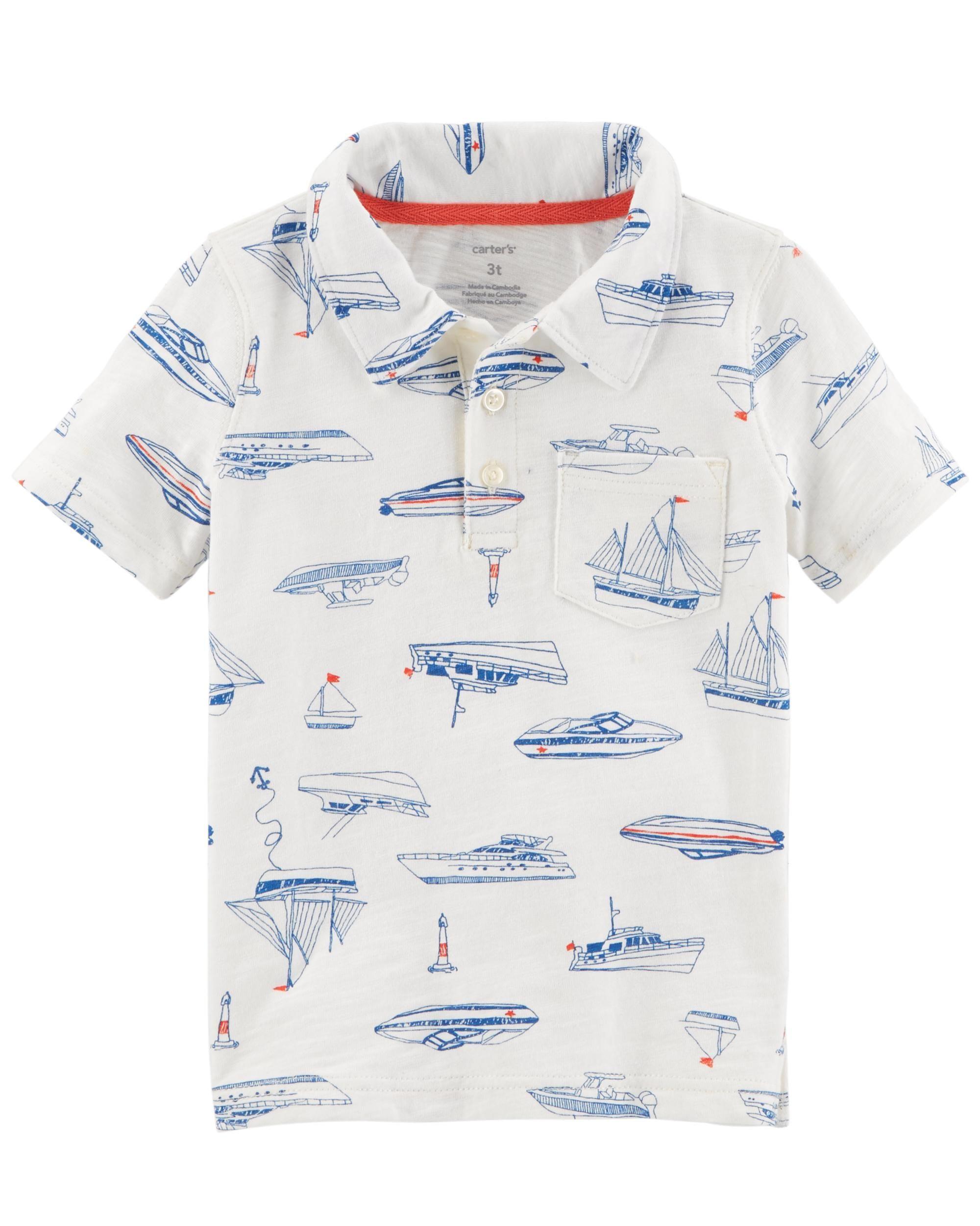 22404617169037 Baby Boy Boat Print Slub Jersey Polo