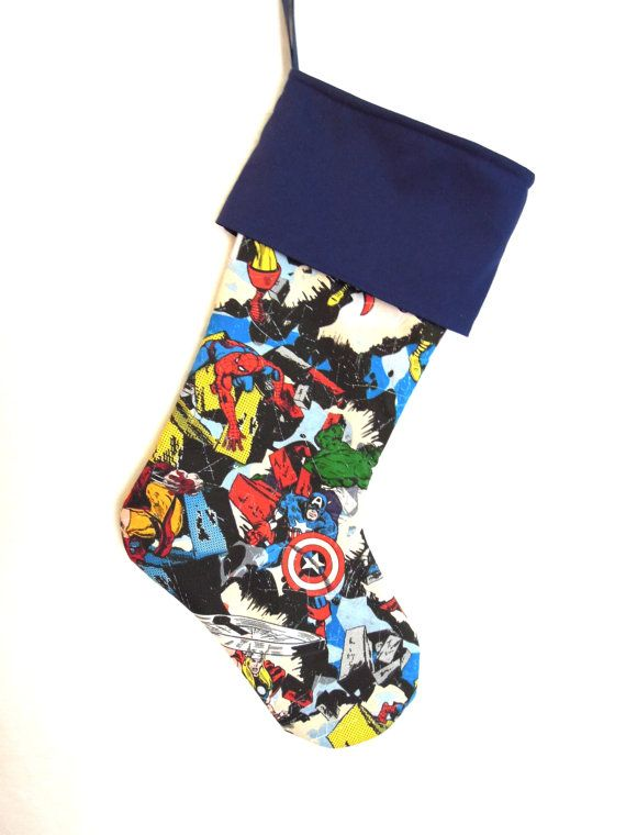 Comic Book Marvel Superhero Christmas Stocking by ChristmasCreate ...