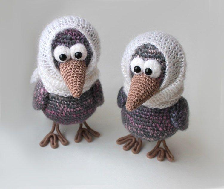 #crochet, Curious crow - free amigurumi pattern, stuffed toy, #haken, gratis patroon (Engels), kraai, knuffel, speelgoed, #haakpatroon