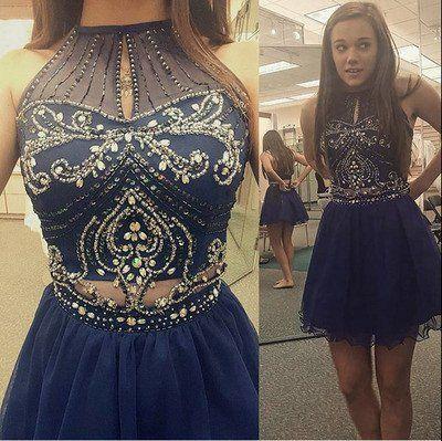 Prom Dress,High Neck Halter Navy Blue Tulle Skirt Two Piece Short ...
