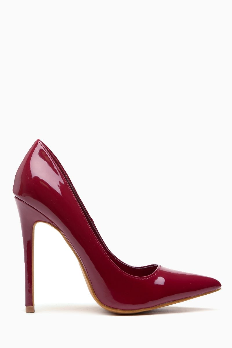 Burgundy Faux Patent Leather Pointy Toe Classic Pumps   Cicihot Heel Shoes  online store sales Stiletto Heel Shoes