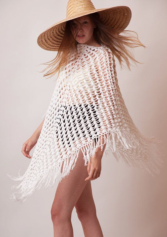 Boho crochet poncho, white cotton tunic, women knitwear, beach cover ...