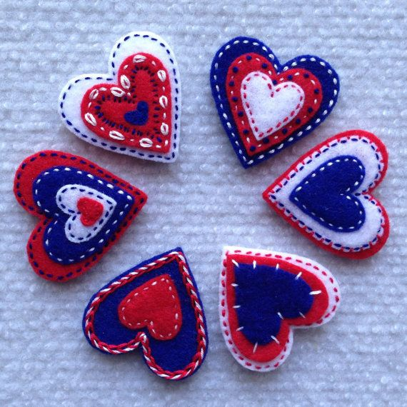 Felt heart appliqués in red white and blue set of 6