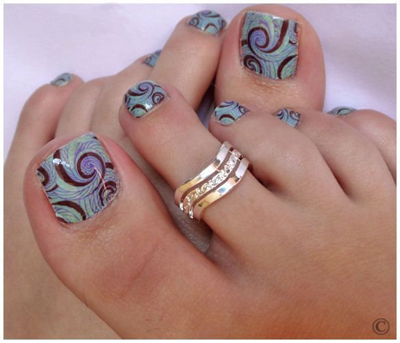 Nail Stamping, Spiral And Toe Nail Art