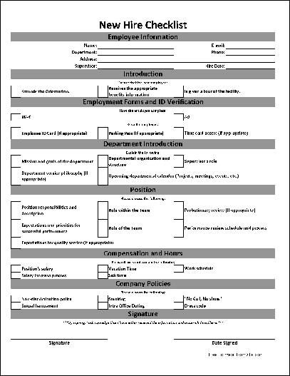 Free basic new hire checklist work planner pinterest for Human resource forms and templates