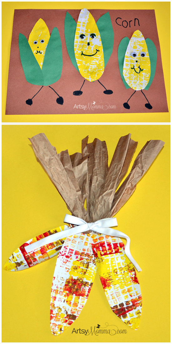 Indian corn door decoration and cute corn on the cob for November crafts for kindergarten
