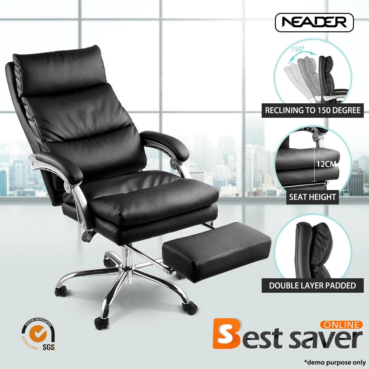 Neader Executive Chair Pu Leather Luxury Reclining Office Chair W